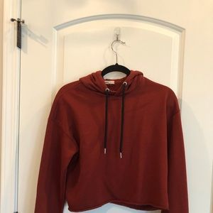 Rust colored cropped hoodie from Garage